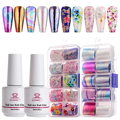 Makartt Nail Art Stickers Glue Gel Set, 20 rolls Laser Tie-dyes Transferfolie mit Klebegel, Nail Transfer Foil für Gel Nail DIY, LED Lamp erforderlich