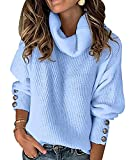 Jersey Punto Cuello Alto Mujer Sueter Tejido Mujer Jerséis Cuello Tortuga Pullover Sweater Jerseys Mujer Jumper Dama Suéter Mujeres Sueteres Tejidos Mujer Jersey Señora Oversize Talla Grande Azul S