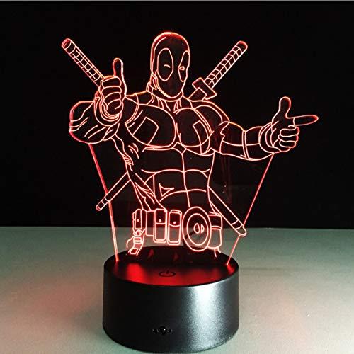 The Avengers Deadpool 3D Led Lámpara De Mesa Nuevo Super Hero 7 Colores Visual Illusion Led Lights Regalo De La Fiesta De Los Amigos