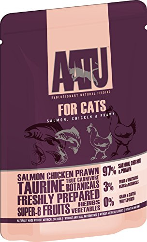 AATU 97/3 Wet Cat Food, Salmon, Chicken and Prawn, No Artificial Ingredients, Grain Free Recipe, Easy Tear Pouches - 10 x 85 g