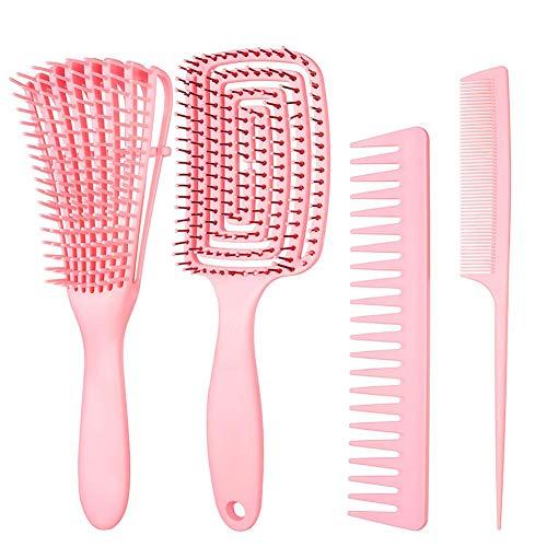 AODOOR 4 cepillos de pelo para mujeres y niñas, ABS antiestático desenredante cepillo de ventilación y peines para todo tipo de cabello, cepillo de masaje profesional para cabello natural rizado