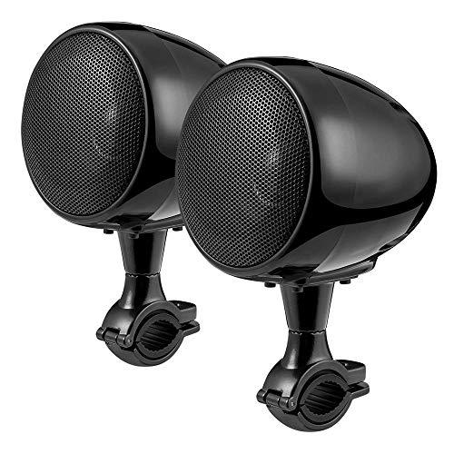 "Aileap todo en uno amplificador integrado sistema de Audio de motocicleta 4"" altavoces Bluetooth a prueba de agua de alcance completo MP3 estéreo con AUX para 7/8 a 1.25 in. Bar Harley ATV UTV (negro)"
