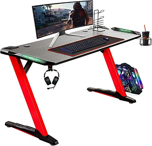 VONLUCE 55-Inch Gaming Desk, Z Shaped Gaming Table with 6-Color RGB Lighting, Large Mouse Pad, Controller Stand, Cup Holder & Headphone Hook, Writing Desk Computer Desk for Home Office, Red