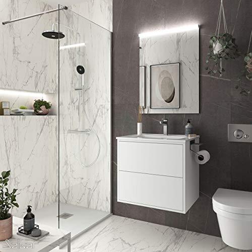 Yellowshop. - Mobile Bagno sospeso 60 cm Design Moderno 2 cassetti lavabo specchiera LED MOD. Optimus (Bianco Opaco)