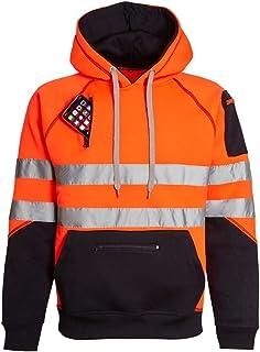 NY Deluxe Edition Men's High Visibility Reflective Tape Pullover Hood Hi Viz Security Safety & Work Fleece Sweatshirt Top ...