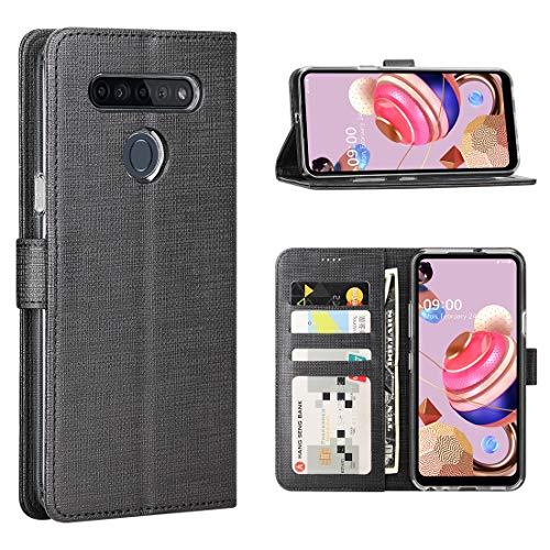 FUNMAX+ LG K51S Hülle, PU Leder Handyhülle mit 3 Kartenfächer, Schutzhülle Hülle Tasche Magnetverschluss Flip Cover Stoßfest für LG K51S Smartphone (Schwarz)