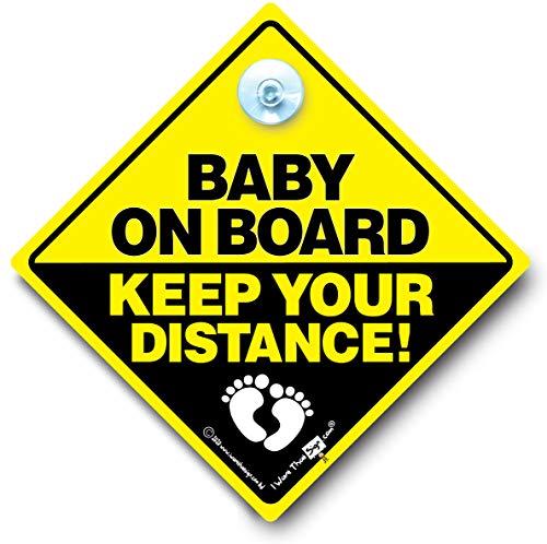 """Baby On Board Keep Your Distance Auto""-Schild, Saugnapf"
