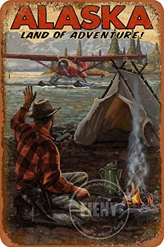 Letrero de metal de Alaska Land of Adventure Wilderness Llegada Avión Calle al aire libre letreros de calle vintage decoración para el hogar casa de campo rústico porche 20,3 x 30,4 cm