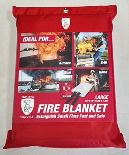 Fire Blanket by The Grill Armory | Extinguishes Fires in Seconds to Protect Your Home - US Certified (Large)