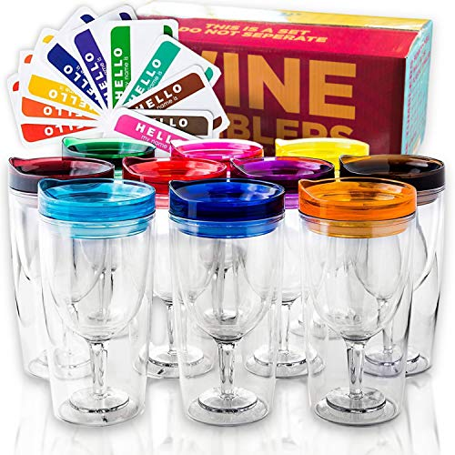 Insulated Wine Tumbler With Lid (SET OF 10) +BONUS Name Decals   Outdoor Acrylic Plastic Wine Glasses   10oz Cup Tumblers in 10 Colors - Adult Sippy   Unbreakable Stemless Wine Glass