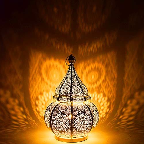 Orientalische kleine Tischlampe Lampe Malha 38cm Gold E27 | Marokkanische Tischlampen klein aus Metall, Lampenschirm Goldfarbig | Nachttischlampe modern, für Vintage, Retro & Landhaus Stil Design