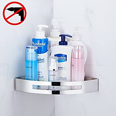 Gricol Bathroom Corner Shower Shelf Wall Shower Caddy Stainless Steel 3M Adhesive No Damage Wall Mount (silver)