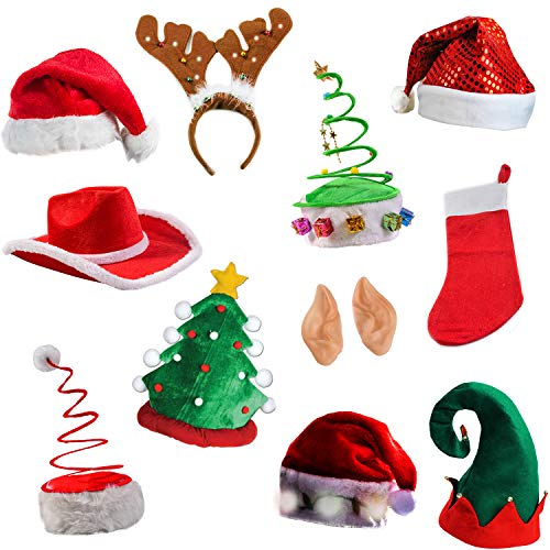 Tigerdoe Christmas Party Supplies - 5 Pack Christmas Photo Booth Prop - Christmas Costume Accessories - Christmas Headbands (5 Piece Photo Booth Prop Kit)