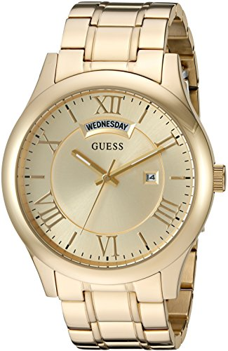 GUESS Gold-Tone Stainless Steel Bracelet Watch with Day + Date. Color: Gold-Tone (Model: U0791G2)