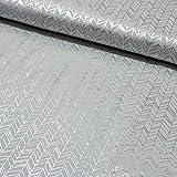 Stoff Baumwoll-Jersey Chevron abstrakt mit silber Print -