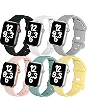 POWER PRIMACY Sport Bands Compatible with Apple Watch Band 40mm 38mm 44mm 42mm for Women Men 6 Pack Silicone Sport Replacement Strap Compatible for iWatch Bands Series 6 3 5 4 2 1 SE Sport Edition