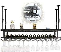 ワイングラスホルダー 吊り下げ収納 ディスプレイスタンド 家の装飾 ワイングラスハンガー ワインラック2層ぶら下げワインラック黒天井装飾棚ステムウェアホルダーヴィンテージ工業 シャンパングラス収納 YYDD (Size : 120*30cm)