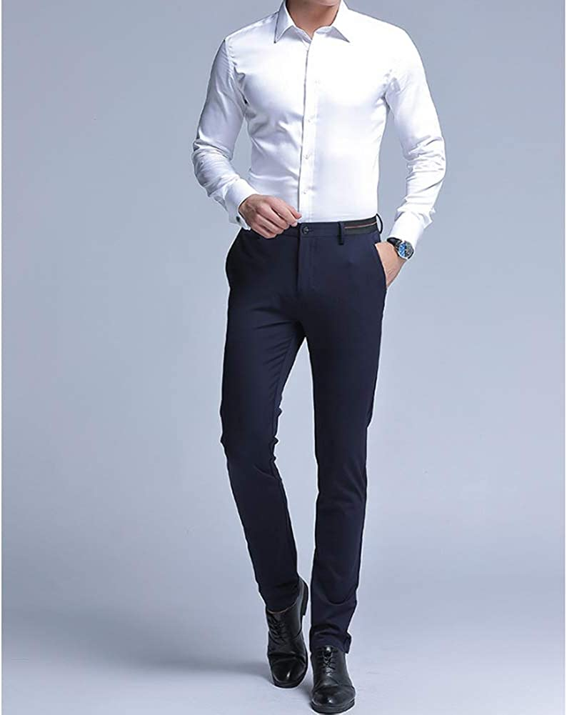uirend Mens Formal Business Trousers Work Straight Leg Office Suit Pants