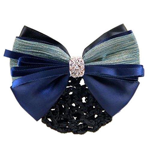 2 pcs dames bowtie maille élastique coiffe coiffure Hairnets Barrette cheveux,Bleu