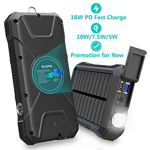 #8 Blavor 20000mAh - QC3.0 + USB-C PD 18W + Wireless 🔁⚡📶🌞✅