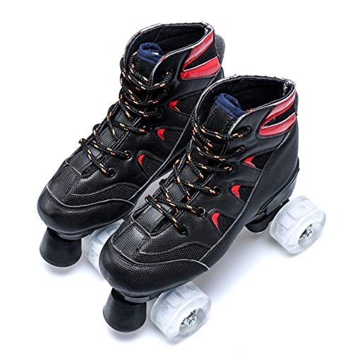 Dytxe Klassische Zweireihige Rollschuhe Skates Kinder Mit Starkem, Haltbarem Chassis Rollschuhe Outdoor/Indoor,Schwarz,34