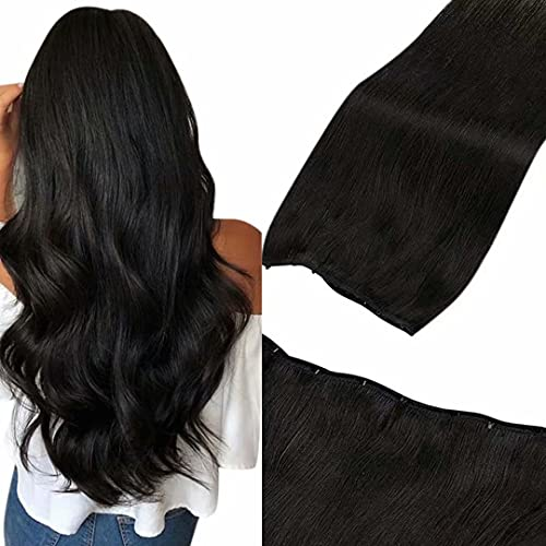 """Micro Ring Beaded Weft Extensions Black LaaVoo Easy Weft Black Human Hair Extensions Natural Black Micrbead Weft Extensions Off Black Micro Weft Human Hair Extensions Silky Straight 50g 20"""""""