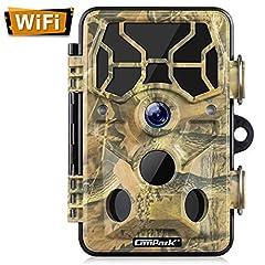 Campark Wi-Fi Caméra sauvage 20MP 1296P, WiFi avec détecteur de mouvement Vision nocturne Wildlife Caméra de chasse, caméra pour animaux sauvages avec vision nocturne Imperméable IP66