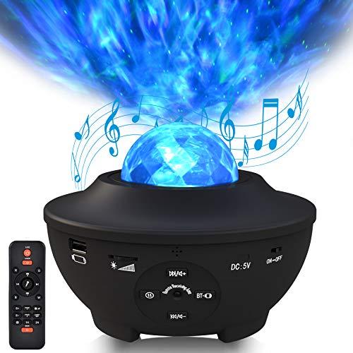 Sylvwin LED Sternenlicht Projektor,Sternenhimmel Projektor mit Bluetooth Musikspieler,Rotierende Wasserwellen Nachtlichter mit Ferngesteuerte &Timer für Kinder, Schlafzimmer,Part,Dekoration