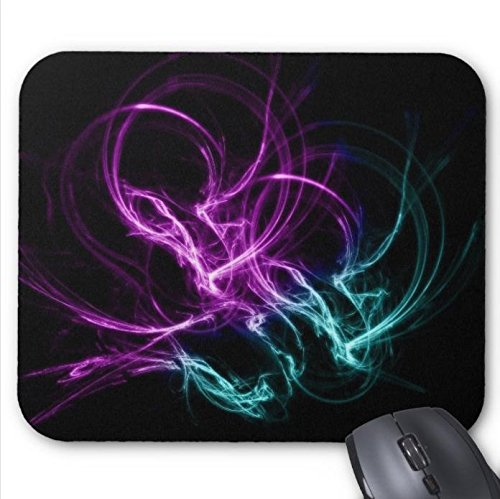 Pink Black Wirls Abstract Mouse Pad 11.8 X 9.8 in