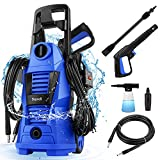 Suyncll 2300PSI Electric Pressure Washer Power Washer 1.6GPM 1200W High Pressure Washer Car Washer Machine with Adjustable Nozzle Soap Bottle for Homes, Cars, Driveways, Patios and Garden (Blue)