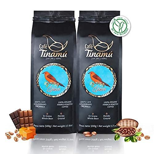 ☕️ Café Tinamú Clásico   2x 500 Gramm   Bio Arabica Kaffeebohnen für Vollautomaten   mild und säurearm   Hochlandkaffee aus Kolumbien