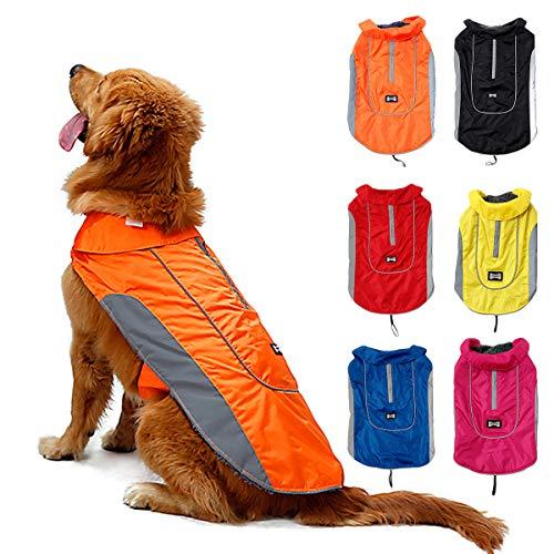 TFENG Reflektierend Hundejacke für Hunde, Wasserdicht Hundemantel Warm gepolstert Puffer Weste Welpen Regenmantel mit Fleece (Größe 3XL, Orange)