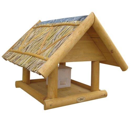 Habau Vogelhaus Borkum mit Strohdach inklusive Ständer und Silo - 2