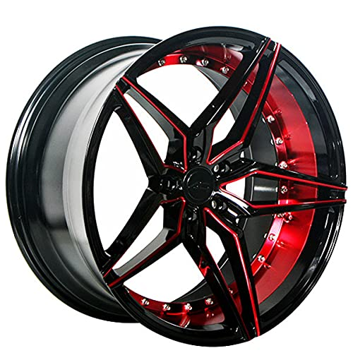 AC Wheels ACW001 – 20 Inch Staggered Rims – Set of 4 Black and Red Wheels – Sports Racing Cars – Fits Challenger, Charger, Mustang, Camaro, Cadillac and More (20x9 / 20x10.5) – Car Rim Wheel Rines