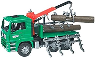 Bruder 02769 MAN Timber Truck with Loading Crane and 3 Trunks