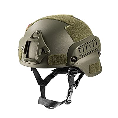OneTigris MICH 2000 Style ACH Tactical Helmet with NVG Mount and Side Rail (OD Green)