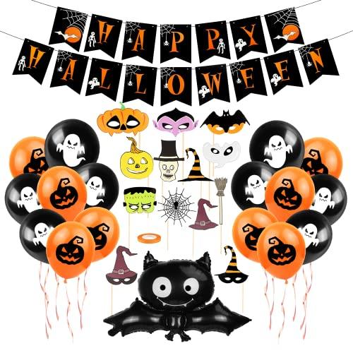 Bluelves Palloncini Festa Halloween Set, Festone Happy Halloween, Halloween Pipistrelli Palloncini, Halloween Photo Booth Accessori, Decorazioni Halloween Bambini, per Halloween Decorazioni Casa