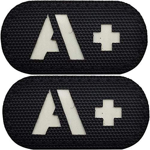 Paquete de 2 parches reflectantes tipo sangre oscura + Positive POS, emblema táctico, insignias militares morales con cierre de velcro en la parte trasera