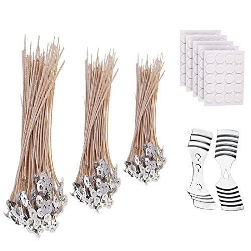 100 Pcs of 20/15/10cm Organic Soy Wax Cotton Candle Wicks for Making Candles,100double sided Glue Stickers, 2Pcs Stainless Candle Wick Holders of 1/3holes for DIY Candles Craft Tools Candle Making Kit