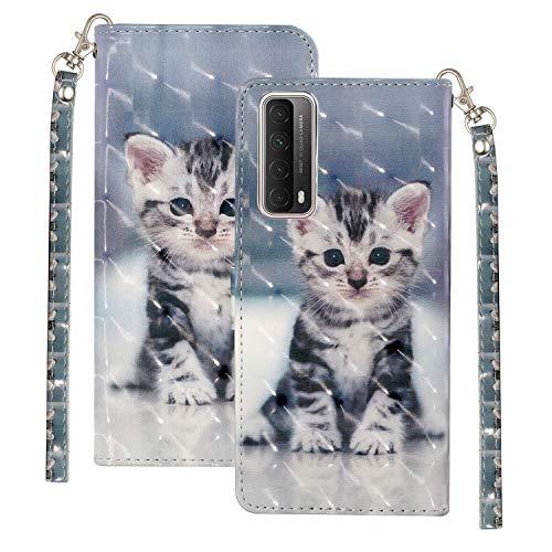 Bling Glossy Wallet für Huawei P Smart 2021 Stilvolle Farbe Handyhülle 3D Sparkly Shockproof Flip Tasche Hülle Süße Katze Muster mit Handschlaufe Kartentaschen Halter für Huawei P Smart 2021/Y7a