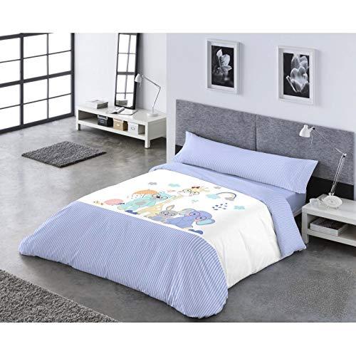 Catotex Funda NÓRDICA Reversible PASATA 3/Piezas, Modelo: YOGUI, Color: 1-Azul, Medida: Cama DE 105x190/200cm.