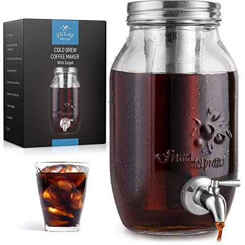 1.5 Liter Cold Brew Coffee Maker with EXTRA-THICK Glass Carafe & Stainless Steel Mesh Filter - Premium Iced Coffee Maker, Cold Brew Pitcher & Tea Infuser - by Zulay Kitchen