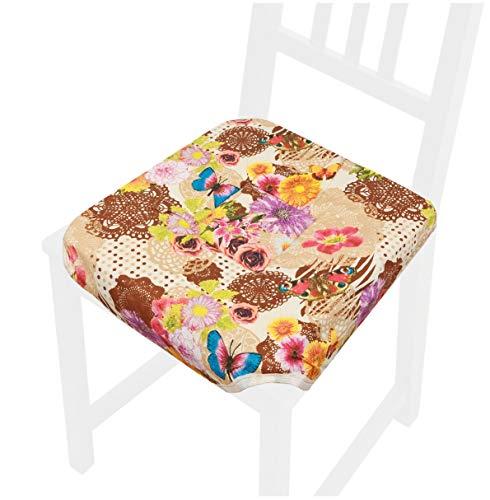 emmevi Cuscino Sedia Universale Cotone Lavabile Coprisedia Colorato Cucina Farfalla MOD.ROSA9C Marrone