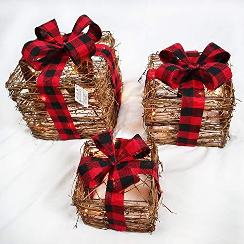 SHATCHI Lot de 3 Paquets de Noël Lumineux à LED en sisal et rotin - À Piles - Doré/Rouge/crème/Tartan - Marron - 25 cm/20 cm/15 cm