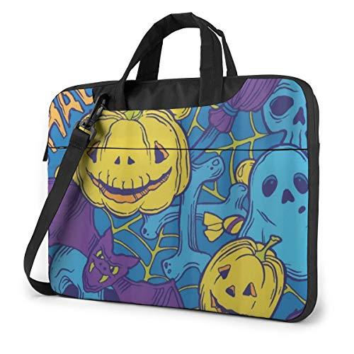 Halloween Pattern with Horror Elements 13' Laptop Case Sleeve Briefcase Computer Shoulder Bag W/Strap