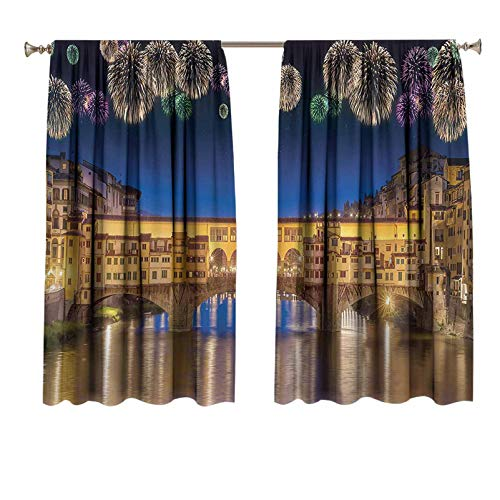 Landscape Personalized Curtains Night Panoramic View Vecchio Bridge Florence Italy Colorful Fireworks Print Decorative Curtains Yellow Navy Purple 55x39 inch