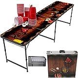 """Beer Pong Tisch """"Dirty Pub"""" von MyBeerPong + 50 Red Cups + 6 Bällen   schwarzes Gestell aus Aluminium   klappbar & leicht zu transportieren   wasserabweisend & leicht zu reinigen   Bier-Pong Tisch-Set"""