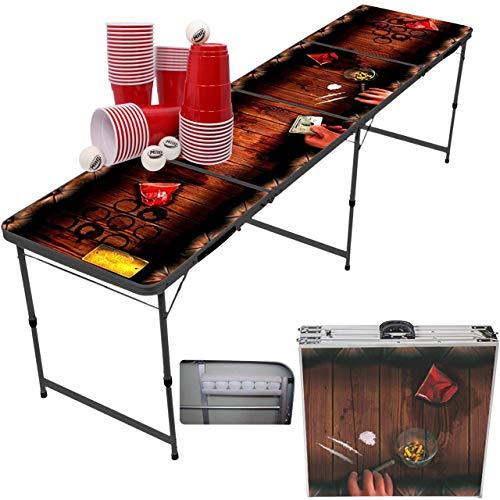 MyBeerPong Dirty Pub - Mesa de Beer Pong + 50 copas rojas + 6 pelotas | Estructura de aluminio negro | Plegable & Fácil de transportar | Impermeable y fácil de limpiar | Juego de mesa de cerveza Pong