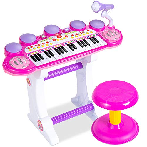 Best Choice Products 37-Key Kids Electronic Musical Instrument Piano Learning Toy Keyboard w/ Multiple Sounds, Lights, Microphone, Stool - Pink