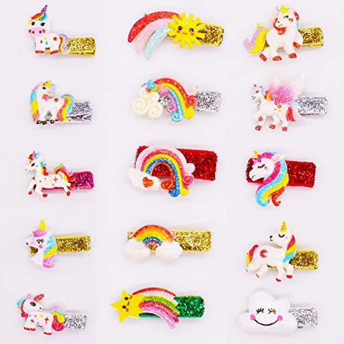 SZWL 15 pezzi Mollette per capelli con unicorno, per bambine,...